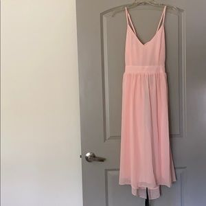 Baby pink Chiffon Midi Skater Dress